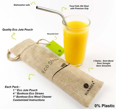 Eco Straws - 4 Stainless Steel Drinking Straws with Cleaning Brush